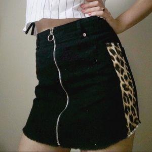(2/$25) Black Jean Skirt with Leopard Print Panel